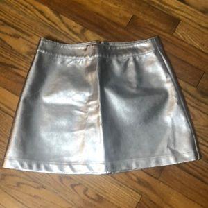 Metallic Silver Pleather Mini Skirt Size M